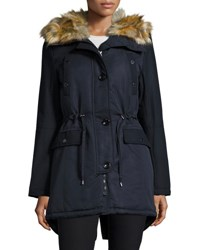 French Connection Hooded Jacket With Faux Fur Trim Blue