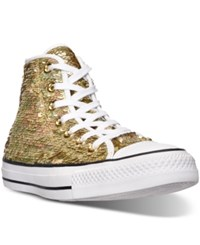 Converse Women's Chuck Taylor High Top Holiday Sparkle Casual Sneakers From Finish Line Gold White Black