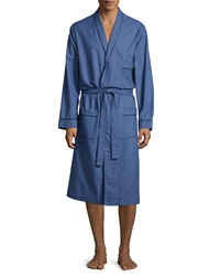Neiman Marcus Check Robe With Piping Navy
