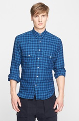 Umit Benan Trim Fit Gingham Western Shirt Blue