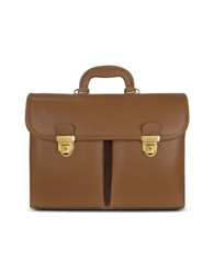 L.A.P.A. Men's Front Pocket Tan Brown Italian Leather Briefcase