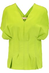 Marni Pleated Silk Crepe De Chine Top Lime Green