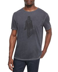 John Varvatos Skeleton Graphic Knit Tee Gray