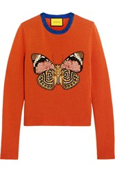 Gucci For Net A Porter Embellished Wool Sweater Orange
