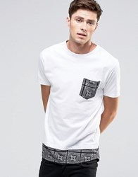 Brave Soul Long Line Aztec Pocket T Shirt White