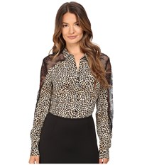 The Kooples Wild Leo On Silk Crepe De Chine And Lace Blouse