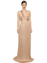 Maria Lucia Hohan Imman Draped Pleated Silk Tulle Gown