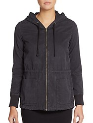 James Perse Twill Hooded Zip Jacket Carbon