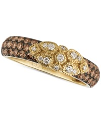 Le Vian Chocolatier Chocolate Diamond And White Diamond Floral Lace Ring In 14K Yellow White Or Rose Gold 3 4 Ct. T.W.