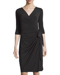 Melissa Masse Half Sleeve Wrap Dress Black