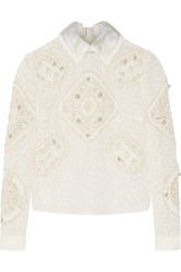 Peter Pilotto Tundra Crocheted And Embroidered Tulle Top White