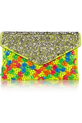 Valentino Embellished Neon Leather Clutch Yellow