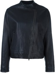 Brunello Cucinelli Collarless Asymmetric Zip Jacket Black
