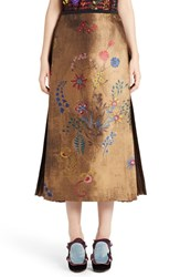 Fendi Women's Pleated Botanical Jacquard Midi Skirt