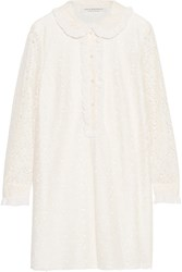 Philosophy Di Lorenzo Serafini Ruffled Chiffon Trimmed Corded Lace Mini Dress Cream