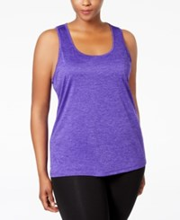 Ideology Plus Size Essential Racerback Performance Tank Top Only At Macy's Blazing Purple