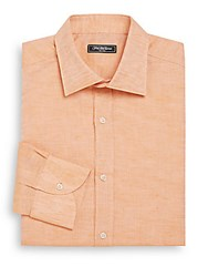 Saks Fifth Avenue Regular Fit Linen And Cotton Dress Shirt Orange