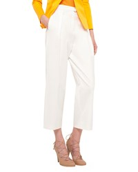 Akris Punto Pleated Front Wide Leg Cropped Pants Cream Ivory