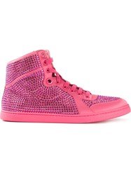Gucci 'Coda' Satin Effect Fabric Hi Top Sneakers Pink And Purple