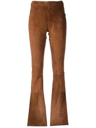 Drome Stitching Detail Flared Trousers Brown