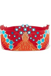 Valentino Embellished Metallic Leather And Suede Waist Belt Red