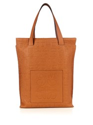 Loewe Debossed Leather Tote Tan