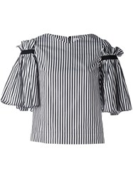 Osman Ruffled Striped Top Black
