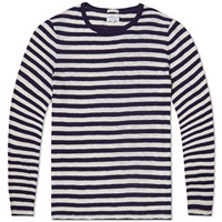 Gant Rugger Long Sleeved Striped Snugger Tee Navy And White