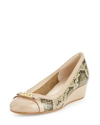 Cole Haan Elsie Snake Embossed Bow Wedge Pump Natural Roccia