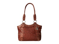 American West Over The Rainbow Zip Top Fashion Tote Caramel Tote Handbags Brown