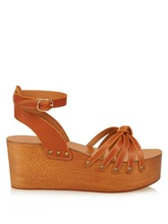 Isabel Marant Zia Wooden Flatform Sandals Tan