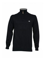 Raging Bull Plain Half Zip Neck Jumper Navy