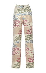For Restless Sleepers Crono Straight Leg Printed Silk Pants White Pink Blue