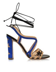 Paula Cademartori Starry Beige And Blue Leather And Suede Sandal