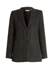 Vince Herringbone Wool And Silk Blend Jacket Dark Grey