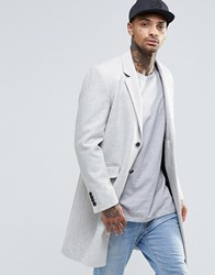 Asos Wool Mix Overcoat In Stone Marl Stone