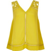 River Island Womens Green Yellow Lace Tank Top