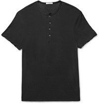 James Perse Slim Fit Cotton And Linen Blend Jersey Henley T Shirt Black