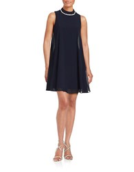 Eliza J Embellished Chiffon Trapeze Dress Navy