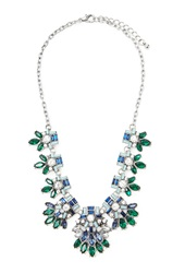 Forever 21 Flower Statement Necklace Green B.Silver