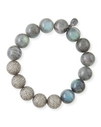 12Mm Labradorite And Pave Diamond Beaded Bracelet Sheryl Lowe Grey