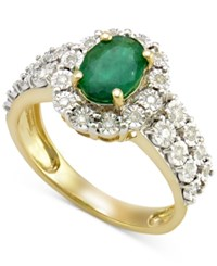 Macy's Emerald 1 Ct. T.W. And Diamond 1 4 Ct. T.W. Ring In 14K Gold Green