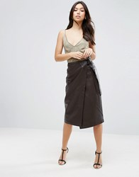 Asos Textured Leather Skirt With Tie Waist Detail Brown