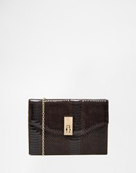 New Look Patent Snake Effect Box Clutch Black
