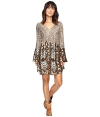 Stetson Steel Aztec Border Print Dress Brown Women's Dress