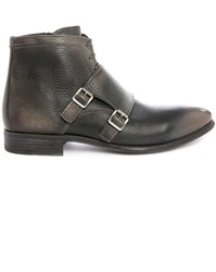 N.D.C. Made By Hand Caleb Grey Grained Leather Double Buckle Boots
