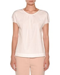 Agnona Cap Sleeve Poplin Top White