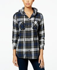 Polly And Esther Juniors' Plaid Flannel Hoodie Navy Combo