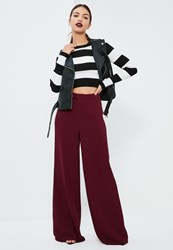 Missguided Burgundy Premium Crepe Wide Leg Trousers