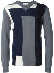 Salvatore Ferragamo Colour Block Intarsia Cardigan Grey